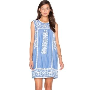 Joie Ashawa Washed Denim Embroidered Mexican Dress